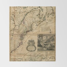 Map of North America (British Colonies) 1731 Throw Blanket