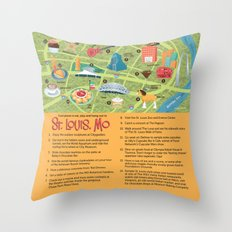 Square Map of St. Louis Throw Pillow