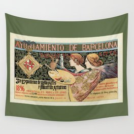 Vintage Art Nouveau expo Barcelona 1896 Wall Tapestry