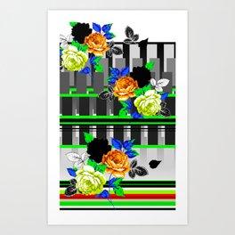 Chintz Rose Orange & Green Art Print