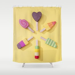 Ice Cream Lollipops on a Bright Yellow Background Shower Curtain