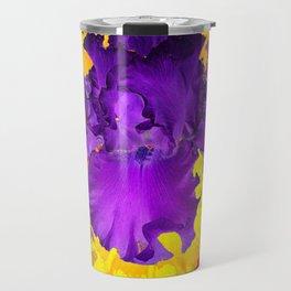 Amethyst Purple Iris Geometric Red & Gold Patterns Travel Mug