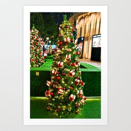 Green Christmas Tree With Gold Box & Red Ribbon Ornaments Art Print