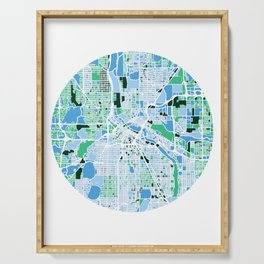 Minneapolis Minnesota Mosaic Map Serving Tray