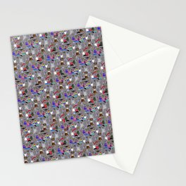 Small Print Dog Weim Nation Grey Ghost Weimaraner Hand-painted Pet Pattern on Blue Stationery Cards