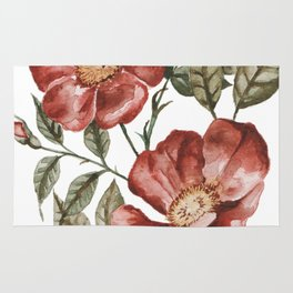 Red Floral Painting Rug
