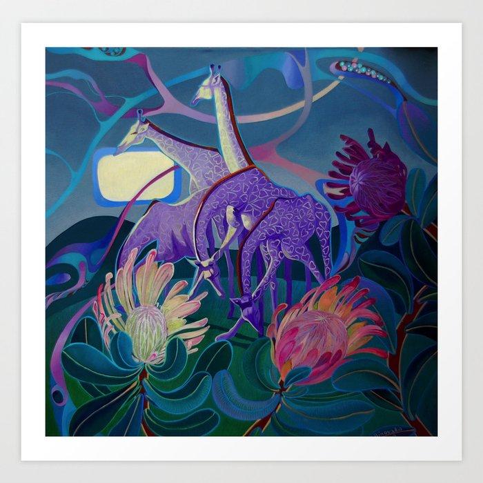 Moonlight dances Art Print