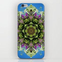 Intricate floral kaleidoscope - Vebena, Dichondra leaves with blue sky iPhone Skin