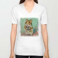 hamster V-neck T-shirts featuring Hamster by Michael Creese