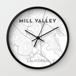 MILL VALLEY Map Print Wall Clock