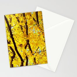 Fall Branches, Golden Yellow Linden Tree Stationery Cards