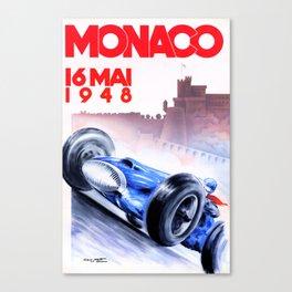 1948 Monaco Grand Prix Race Poster  Canvas Print