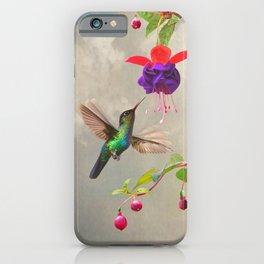 Fuchsia and Hummingbird iPhone Case