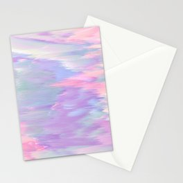 Abstract pink lavender teal ikat brushstrokes Stationery Cards