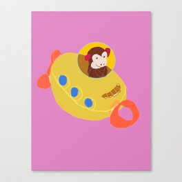 Monkey in a Toy Submarine Canvas Print