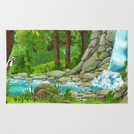 Waterfall and Nature Rug
