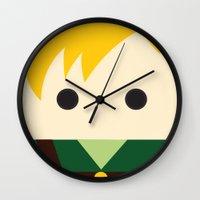 the legend of zelda Wall Clocks featuring Legend Of Zelda Link  by heartfeltdesigns by Telahmarie