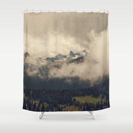 Mountains through the Fog Shower Curtain
