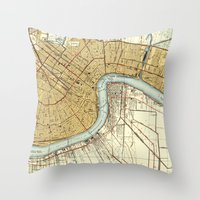 new orleans Throw Pillows featuring New Orleans by Larsson Stevensem