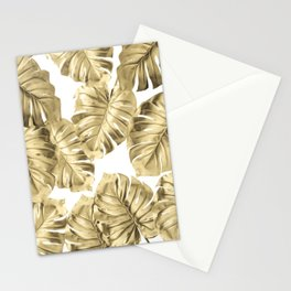 Gold Monstera Leaves on White 2 Stationery Cards