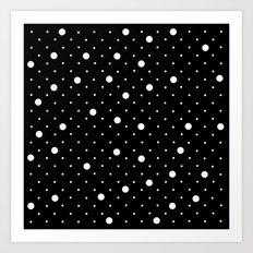 Pin Point Polka Dots White on Black Art Print