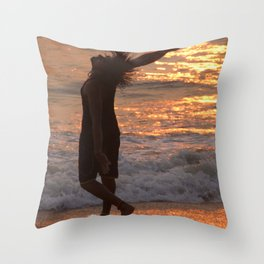 Dancing in the Surf at Sunset Throw Pillow