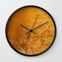 Gold colour velvet fabric background texture Wall Clock