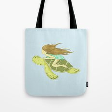 The Girl and the Turtle Tote Bag