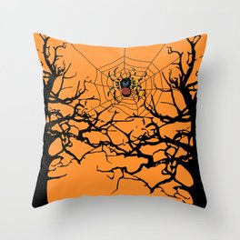 Halloween trees and spiderweb between - orange background Throw Pillow