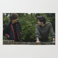 louis tomlinson Area & Throw Rugs featuring Louis Tomlinson x Zayn Malik by behindthenoise