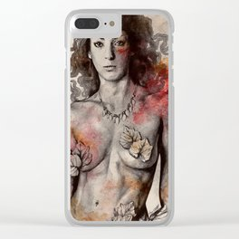 Colony Collapse Disorder (topless warrior woman with leaves on nude breasts) Clear iPhone Case
