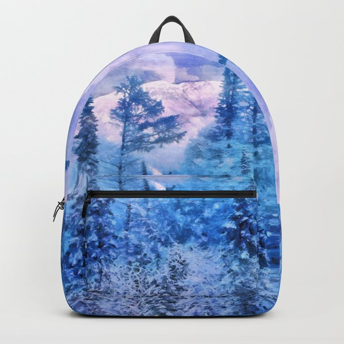 Winter forest in mountains Backpack