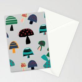 Cute Mushroom gray Stationery Cards