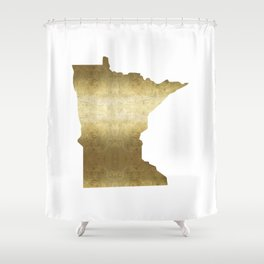 minnesota gold foil state map Shower Curtain