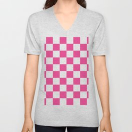 Cheerful Pink Checkerboard Unisex V-Neck