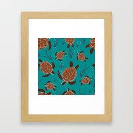 Swimming Sea Turtles Framed Art Print