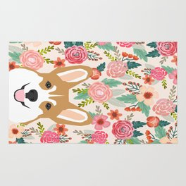 Welsh Corgi cute flowers spring summer garden dog portrait cute corgi puppy funny god illustrations Rug