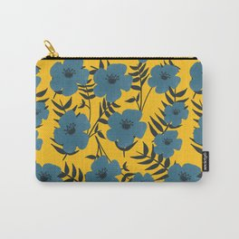 Blue Flowers with Banana Leaves with Yellow Carry-All Pouch