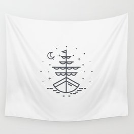 Boat illuminated by the moon and stars Wall Tapestry