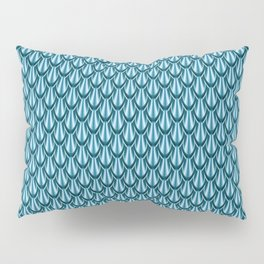 Gleaming Blue Metal Scalloped Scale Pattern Pillow Sham