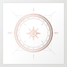 Rosegold on White Compass II Art Print