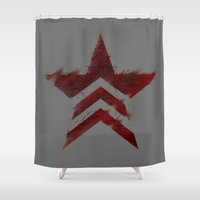 mass effect Shower Curtains featuring Renegade Interrupt - Mass Effect by IS0metric