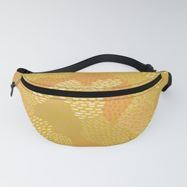 Abstract Brush Strokes, Salmon and Tan on Mustard Fanny Pack