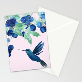 blueberry and humming bird Stationery Cards