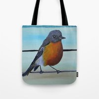 robin williams Tote Bags featuring A Fragile Robin for Mr. Williams by FrameDope