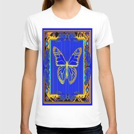 Lapis Blue & Gold Monarch Western Art design T-shirt