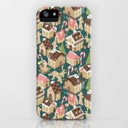 Gingerbread Town Green iPhone Case
