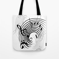 music notes Tote Bags featuring Music Notes by Svetlana Sewell