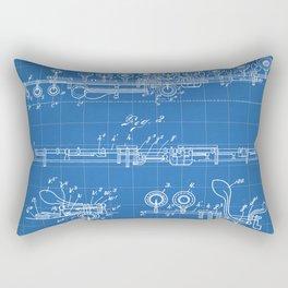 Flute Patent - Musician Art - Blueprint Rectangular Pillow