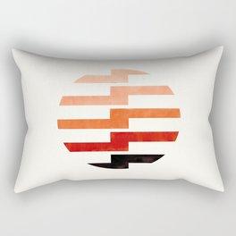 Minimalist Mid Century Circle Frame Burnt Sienna Zig Zag Colorful Lightning Bolt Geometric Pattern Rectangular Pillow